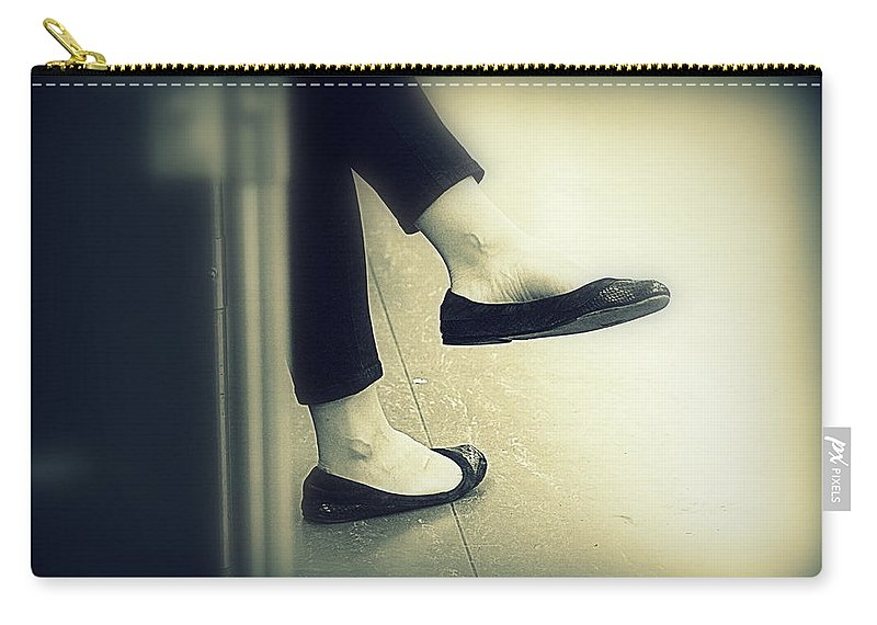 Rest Carry-all Pouch featuring the photograph Subway Feet by Valentino Visentini