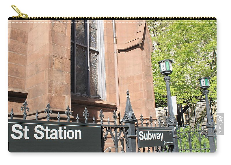 Subway Station Carry-all Pouch featuring the photograph Subway Station In Brooklyn by Catie Canetti
