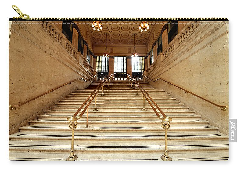 Steps Carry-all Pouch featuring the photograph Subway Station Staircase,chicago by Lisa-blue