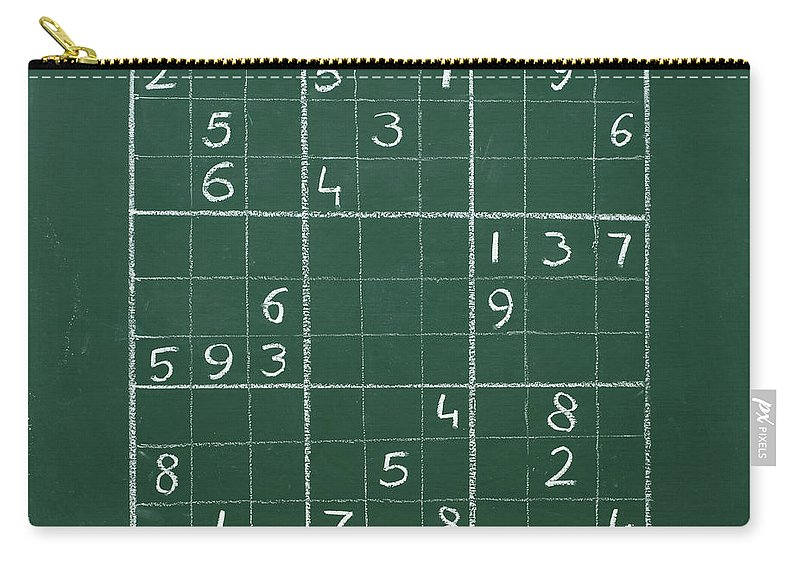 Mathematics Carry-all Pouch featuring the photograph Sudoku On A Chalkboard by Chevy Fleet