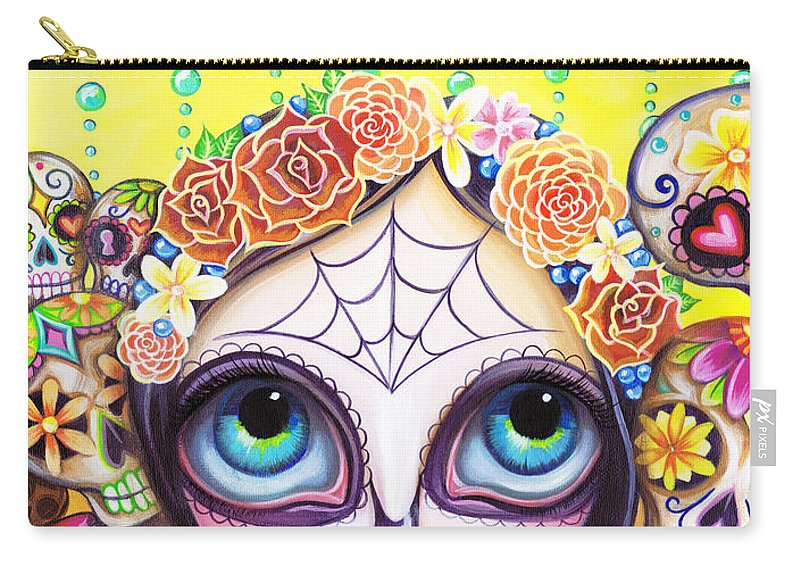 Sugar Carry-all Pouch featuring the painting Sugar Skull Princess by Jaz Higgins