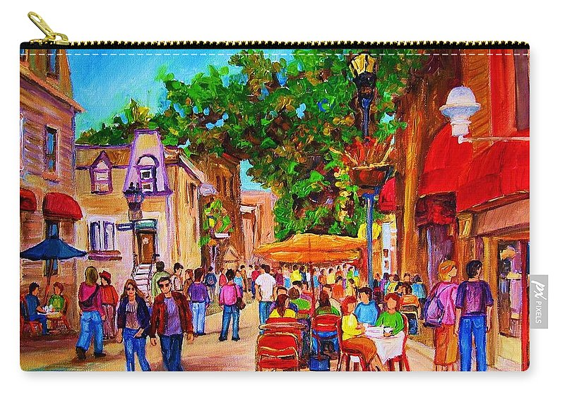 Summer Cafes Montreal Street Scenes Carry-all Pouch featuring the painting Summer Cafes by Carole Spandau
