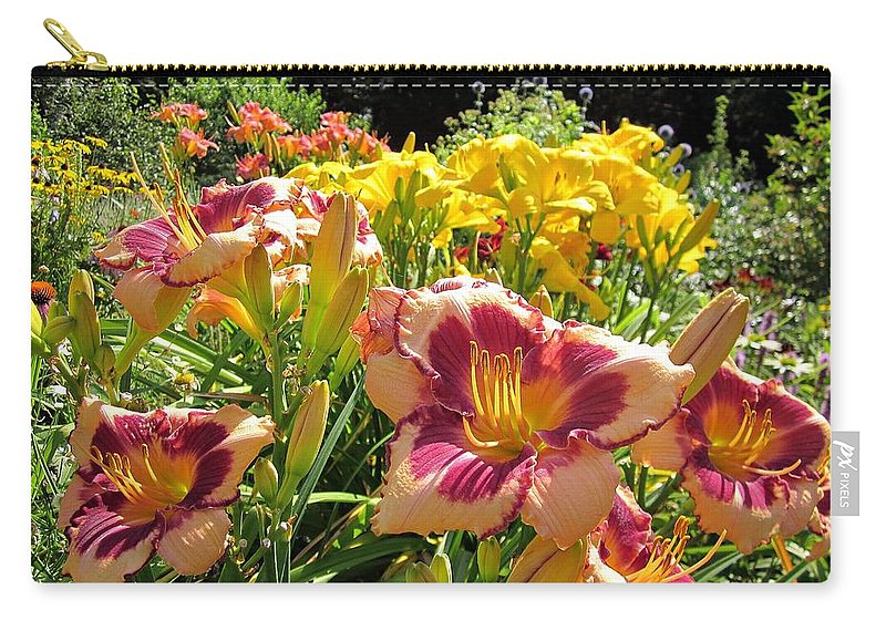 Blushing Summer Valentine Carry-all Pouch featuring the photograph Summer Daylilies by MTBobbins Photography