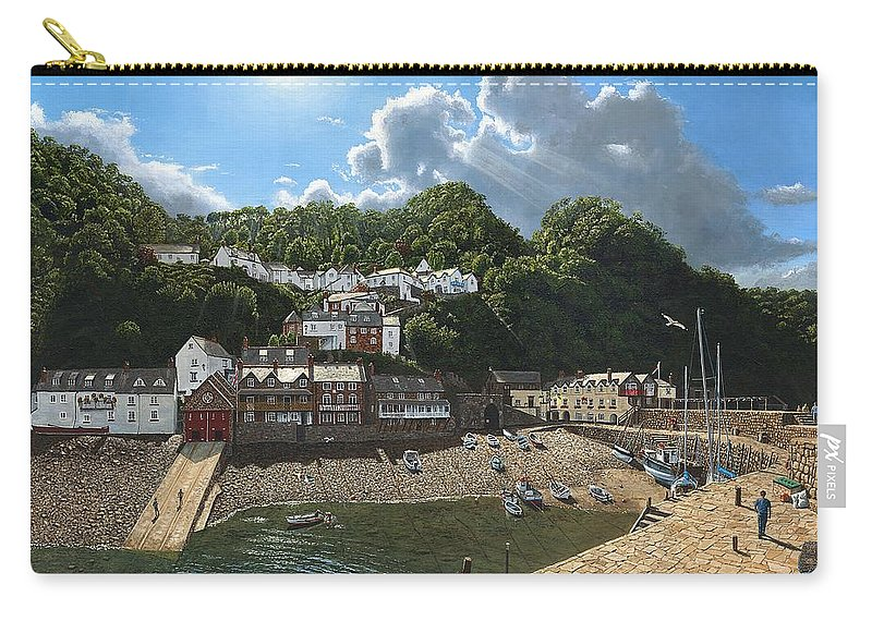 Landscape Carry-all Pouch featuring the painting Summer Evening Clovelly North Devon by Richard Harpum