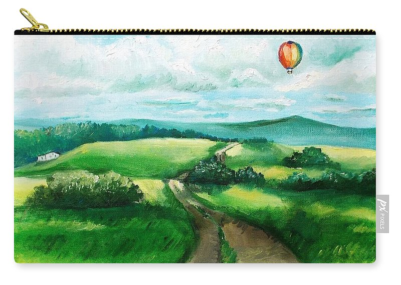 Hot Air Balloon Carry-all Pouch featuring the painting Summer Flight by Shana Rowe Jackson