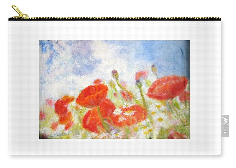 Impressionism Carry-all Pouch featuring the painting Summer Flowers by Glenda Crigger