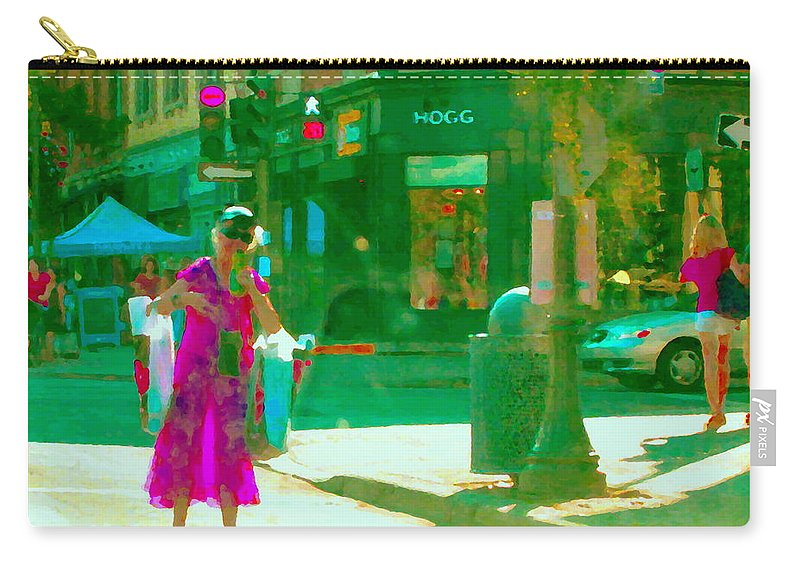 Hogg Hardware Carry-all Pouch featuring the painting Summer Heatwave Too Hot To Walk Lady Hailing Taxi Cab At Hogg Hardware Rue Sherbrooke Carole Spandau by Carole Spandau