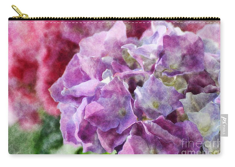 Nature Carry-all Pouch featuring the photograph Summer Hydrangeas With Painted Effect by Debbie Portwood