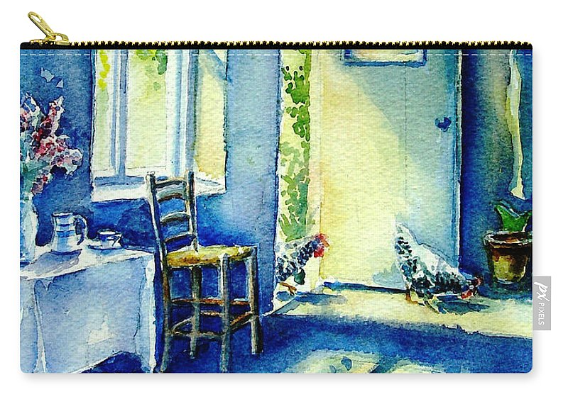 Summer Morning Carry-all Pouch featuring the painting Summer Morning Visitors by Trudi Doyle