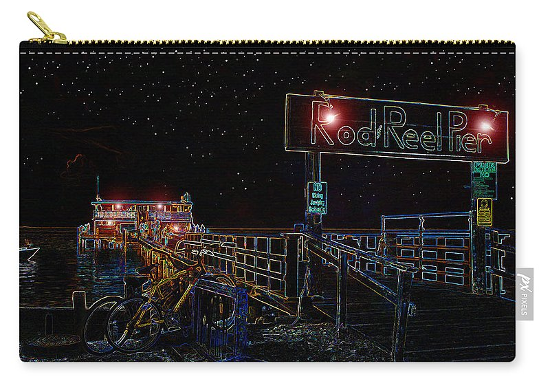 Rod And Reel Pier Anna Maria Island Florida Carry-all Pouch featuring the painting Summer Night At The Pier by David Lee Thompson