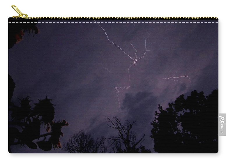 Summer Night Lightning Summer Thunder Storm Images Stormy Sky Storm Skyscapes Carry-all Pouch featuring the photograph Summer Night Lightning by Joshua Bales