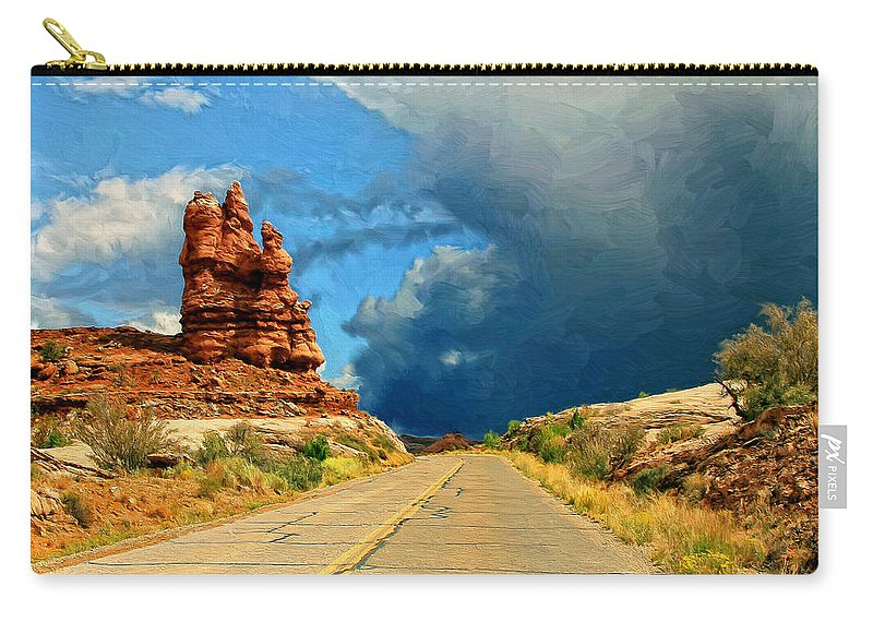 Desert Carry-all Pouch featuring the painting Summer Storm by Dominic Piperata