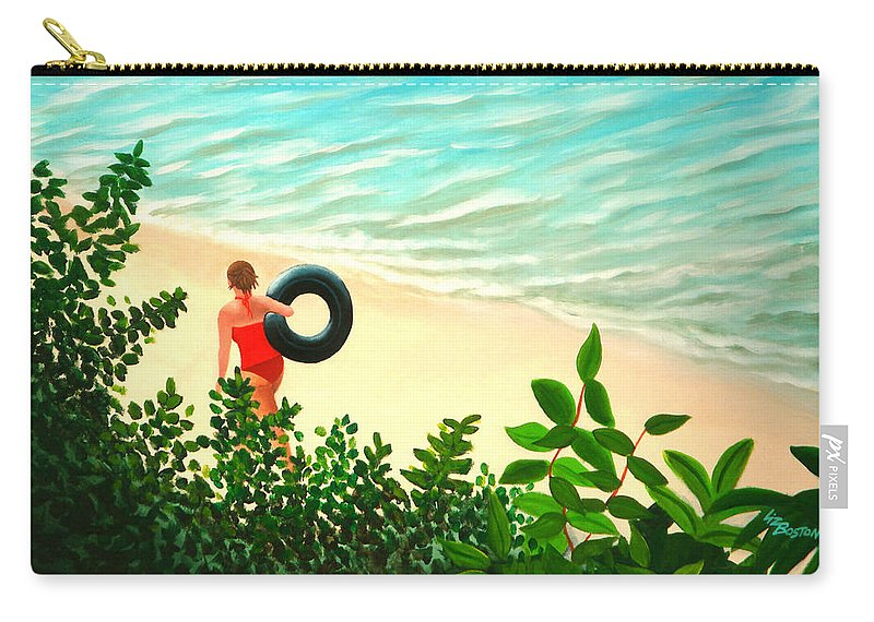 Summer Carry-all Pouch featuring the painting Summer Swim by Liz Boston