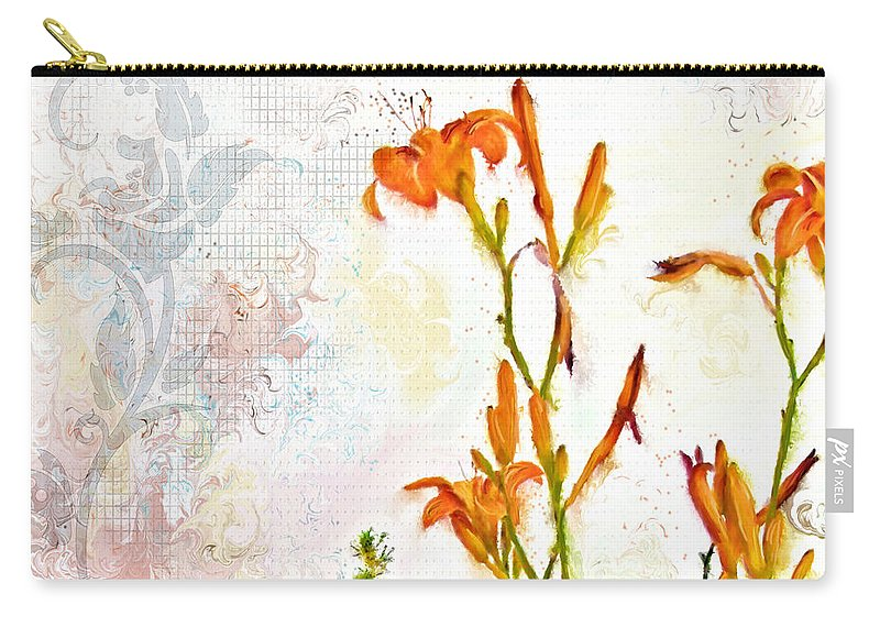 Flowers Carry-all Pouch featuring the painting Summer Trinity Top One Of Three by Susan Kinney