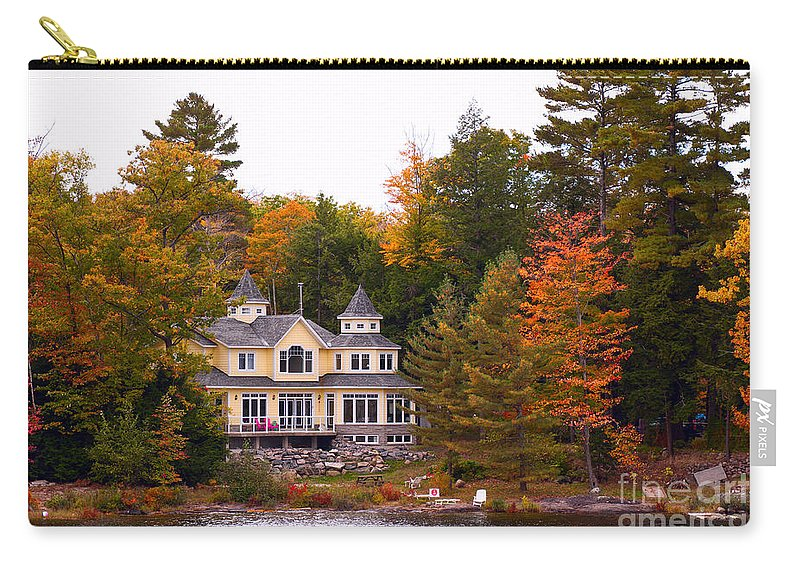 Home Carry-all Pouch featuring the photograph Summerhome On A River by Les Palenik