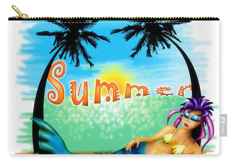 Mermaid Carry-all Pouch featuring the drawing Summertime by Alessandro Della Pietra