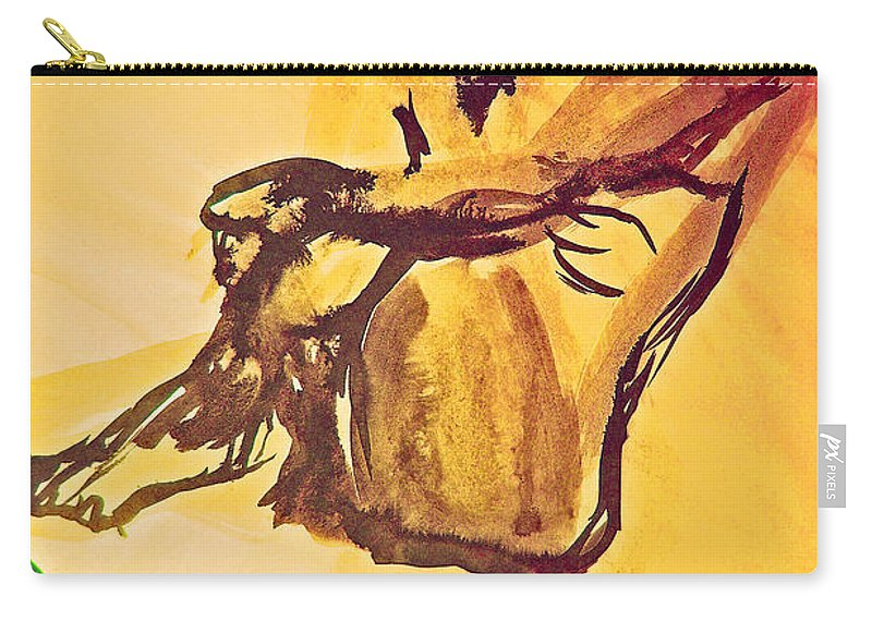 First Star Art Carry-all Pouch featuring the painting Sun Bath By Jrr by First Star Art