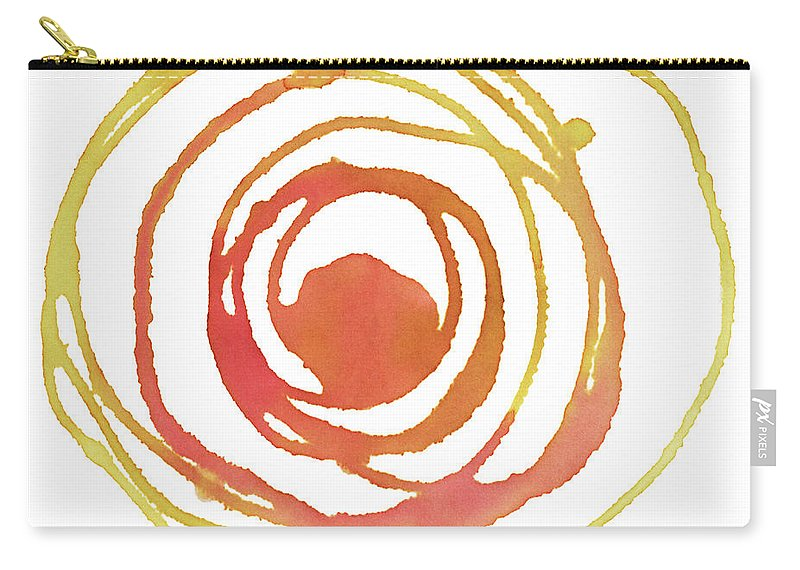 Watercolor Painting Carry-all Pouch featuring the digital art Sun Circle Abstract Water Color Paint by 4khz