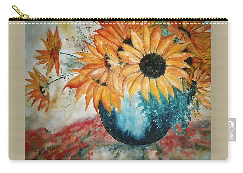 Sun Flower Carry-all Pouch featuring the painting Sun Flowers by Lord Frederick Lyle Morris - Disabled Veteran