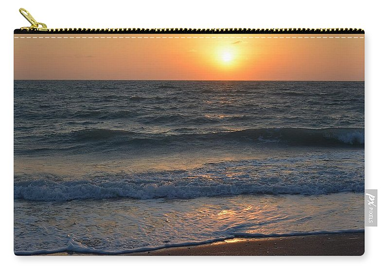 Glistening Sunset Carry-all Pouch featuring the photograph Sun Glistening On The Water by Patricia Twardzik