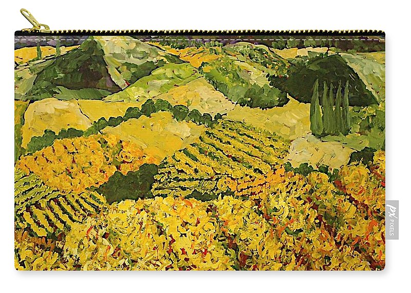 Landscape Carry-all Pouch featuring the painting Sun Harvest by Allan P Friedlander