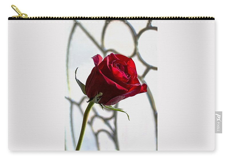 Sun Kissed Rose Carry-all Pouch featuring the photograph Sun Kissed Rose by Mechala Matthews