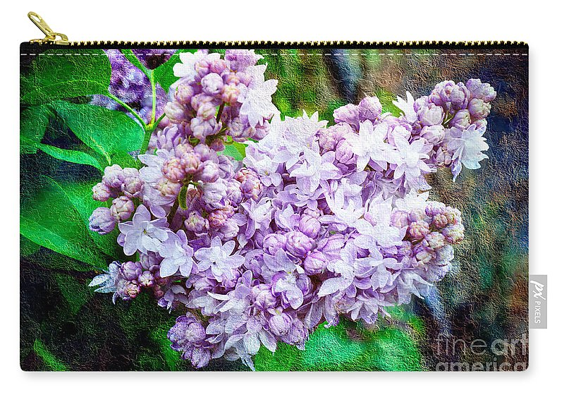 Lilac Carry-all Pouch featuring the photograph Sun Lit Lilac The Sweet Sign Of Spring by Andee Design