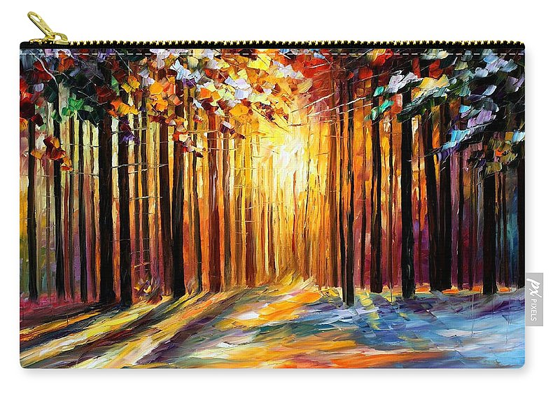 Leonid Afremov Carry-all Pouch featuring the painting Sun Of January - PALETTE KNIFE Landscape Forest Oil Painting On Canvas By Leonid Afremov by Leonid Afremov