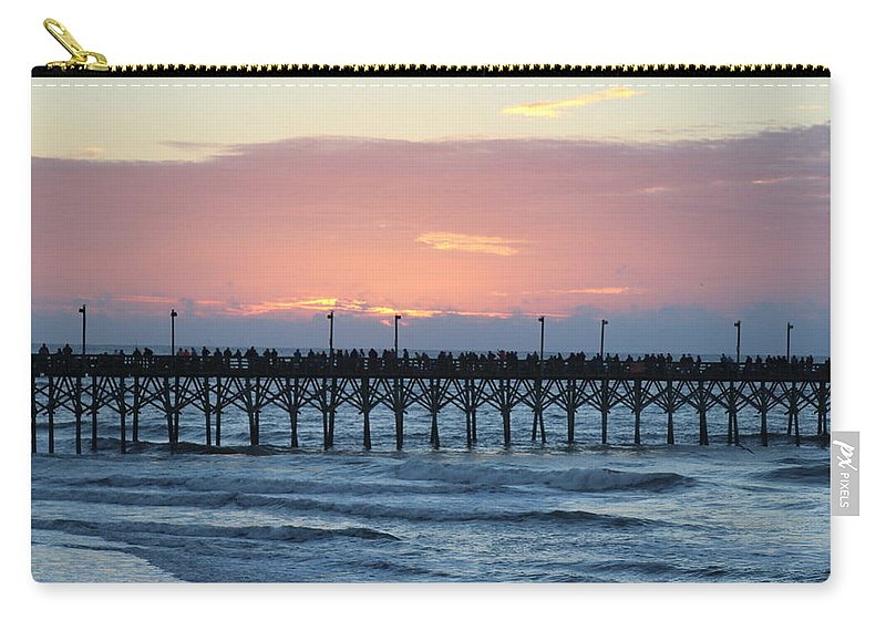 Sun Up Carry-all Pouch featuring the photograph Sun Over Crowed Pier by Rand Wall
