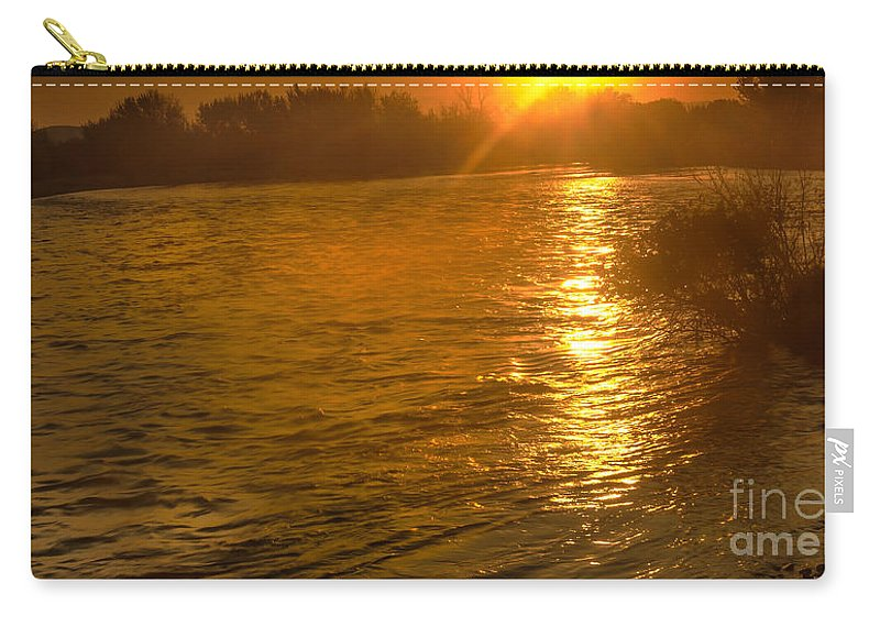 Emmett Carry-all Pouch featuring the photograph Sun Rays On The Payette River by Robert Bales