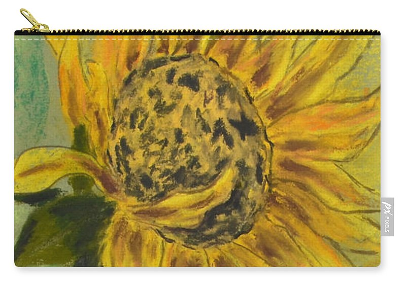 Sunflower Carry-all Pouch featuring the drawing Sunburst by Cori Solomon