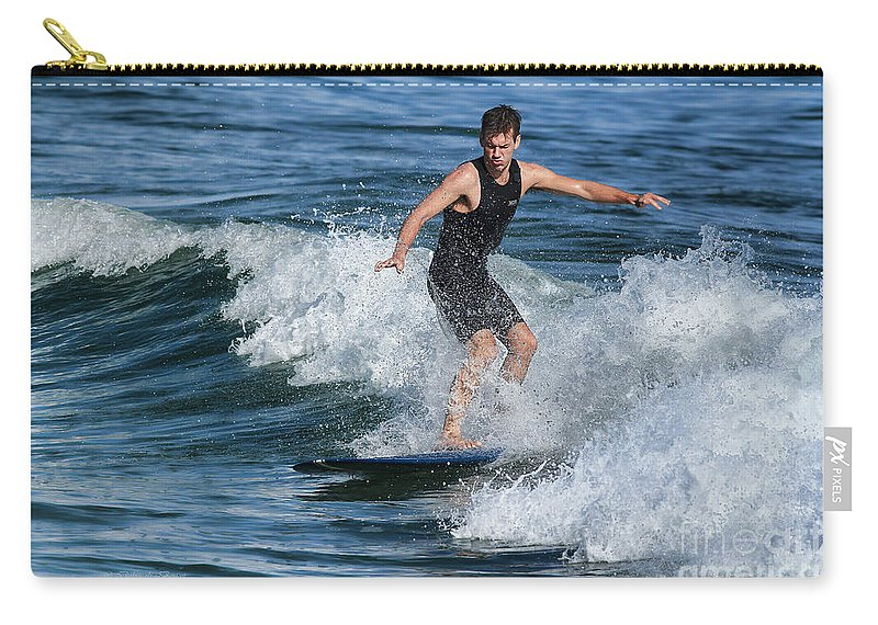Surfing Carry-all Pouch featuring the photograph Sunday Morning Surfing by Deborah Benoit