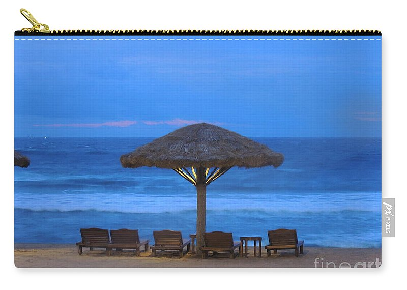 Arabian Carry-all Pouch featuring the photograph Sundecks At Kovalam by Mini Arora