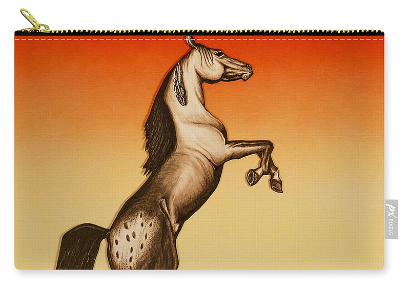 Appaloosa Horse Carry-all Pouch featuring the mixed media Sundown Dancer by Kem Himelright
