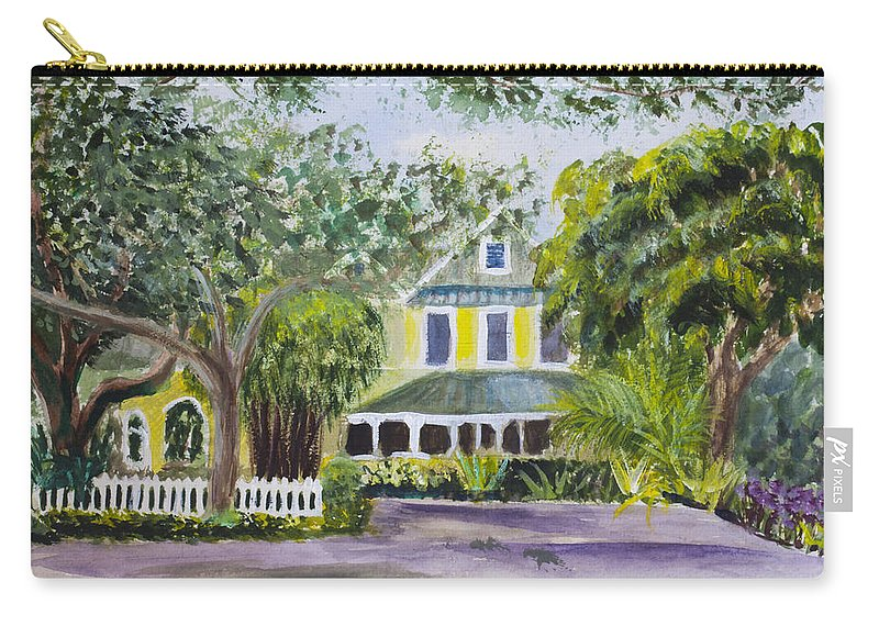 Landscape. Sundy House Carry-all Pouch featuring the painting Sundy House In Delray Beach by Donna Walsh
