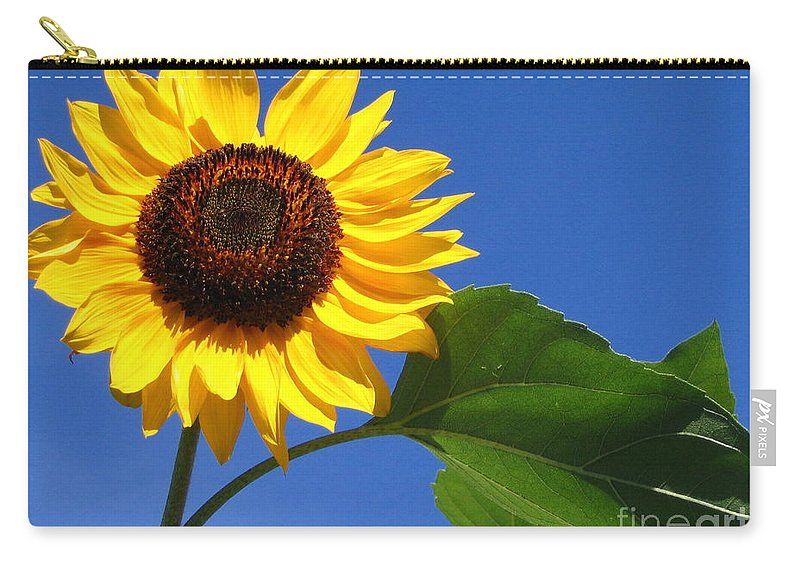 Sunflower Carry-all Pouch featuring the photograph Sunflower Alone by Line Gagne