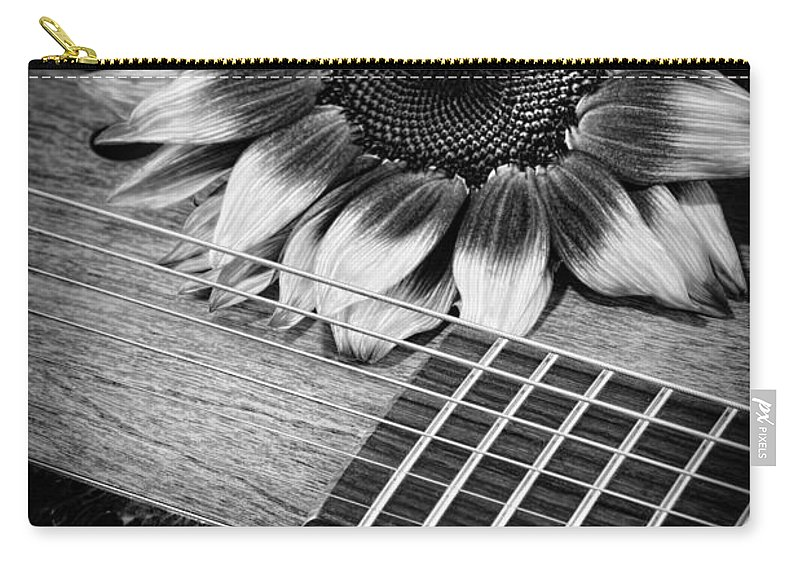 Sunflower Carry-all Pouch featuring the photograph Sunflower And Guitar by Dianne Phelps