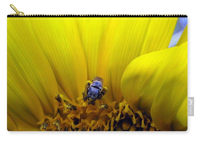 Sunflower Carry-all Pouch featuring the photograph Sunflower Bee by Matt Blankenship