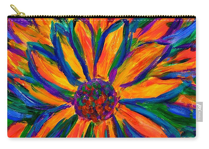 Sunflower Carry-all Pouch featuring the painting Sunflower Burst by Kendall Kessler