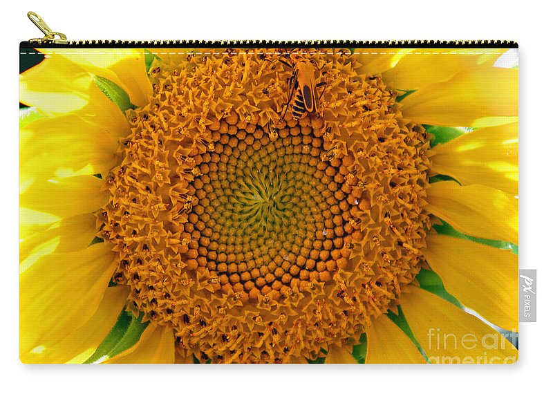 Abstract Carry-all Pouch featuring the photograph Sunflower Close-up by Karen Adams