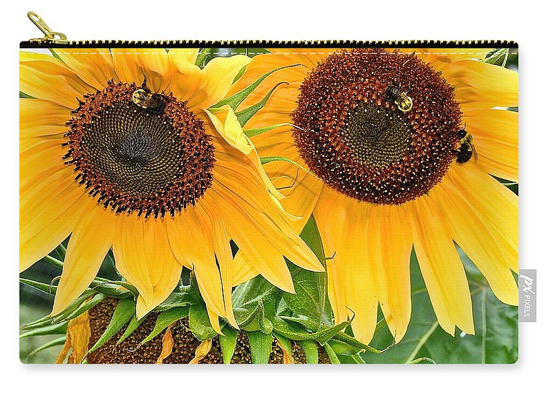 Close Carry-all Pouch featuring the photograph Sunflower Close Up by Frozen in Time Fine Art Photography