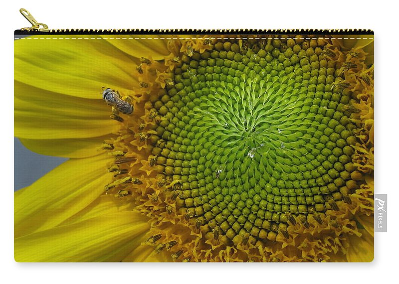 Sunflower Carry-all Pouch featuring the photograph Sunflower Dew-bee by Matt Blankenship