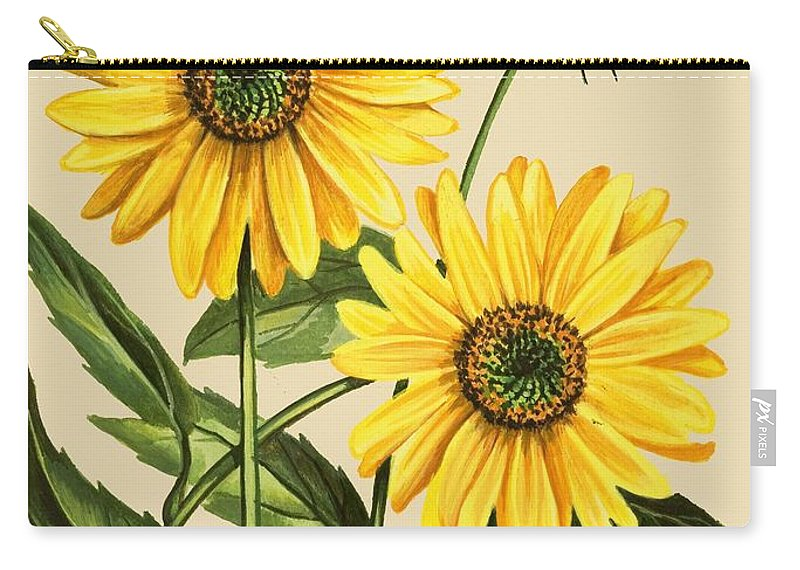 Sunflower Carry-all Pouch featuring the drawing Sunflower by English School