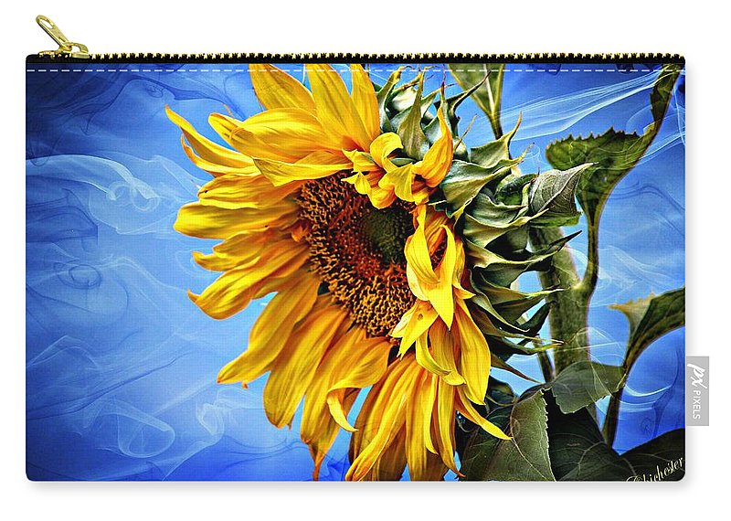 Sunflower Carry-all Pouch featuring the photograph Sunflower Fantasy by Barbara Chichester