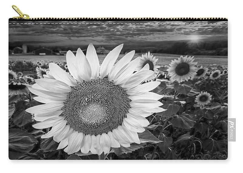 Sunflower Carry-all Pouch featuring the photograph Sunflower Field Forever Bw by Susan Candelario