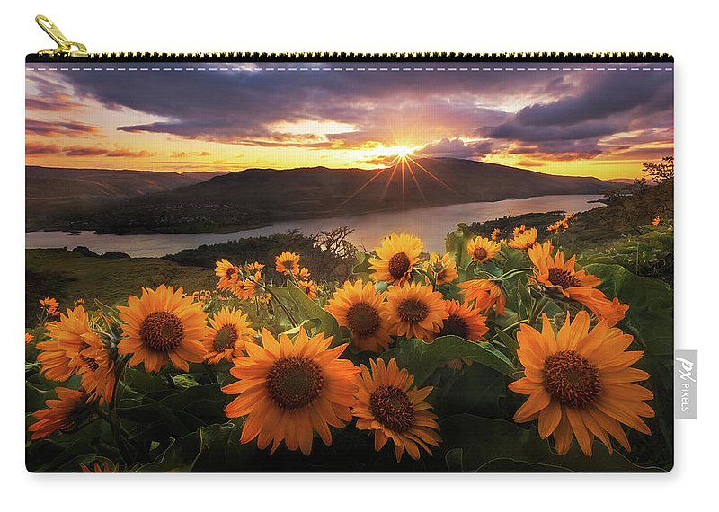 Outdoors Carry-all Pouch featuring the photograph Sunflower Field by Jeremy Cram Photography