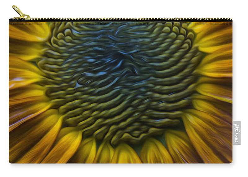 Sunflower Carry-all Pouch featuring the photograph Sunflower In Rain by Erika Fawcett