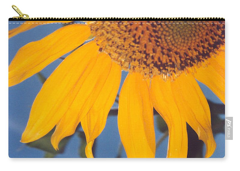 Flower Carry-all Pouch featuring the photograph Sunflower In The Corner by Heather Kirk
