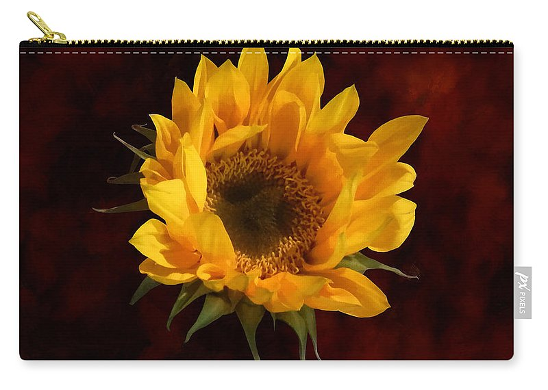 Sunflower Carry-all Pouch featuring the photograph Sunflower Opening by Susan Savad