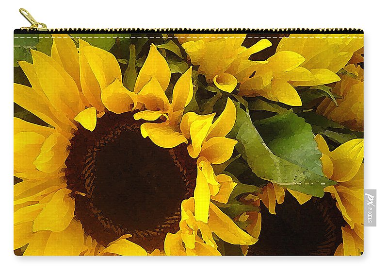 Sunflowers Carry-all Pouch featuring the painting Sunflowers by Amy Vangsgard